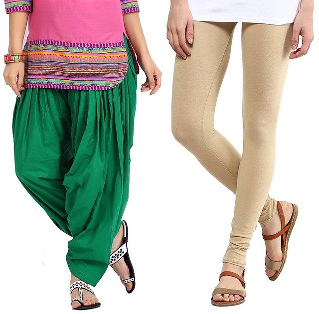 ca3b55cbb4563 Buy Stylobby Green Patiala Salwar Beige Legging Pack Of 2 Online ...