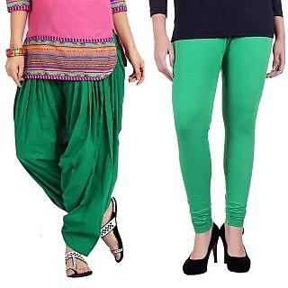 Stylobby Green Patiala Salwar Green Legging Pack Of 2