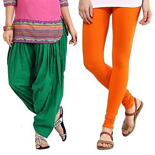 Stylobby Green Patiala Salwar Orange Legging Pack Of 2