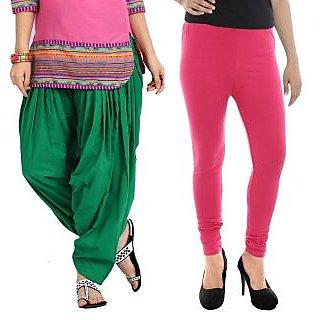Stylobby Green Patiala Salwar Pink Legging Pack Of 2