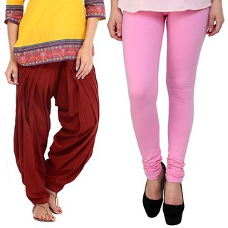 Stylobby Maroon Patiala Salwar BabyPink Legging Pack Of 2