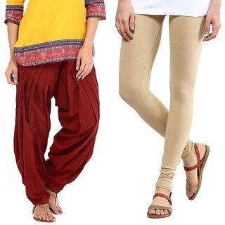 Stylobby Maroon Patiala Salwar Beige Legging Pack Of 2