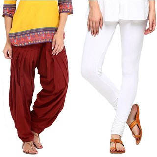Stylobby Maroon Patiala Salwar White Legging Pack Of 2