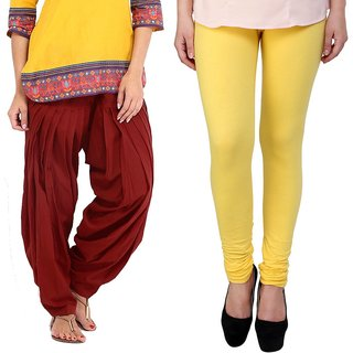 Stylobby Maroon Patiala Salwar Yellow Legging Pack Of 2