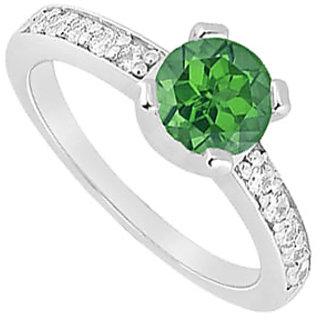 Lovebrightjewelry Emerald & Diamond 14K White Gold Modish Engagement Ring-0.66 Ct
