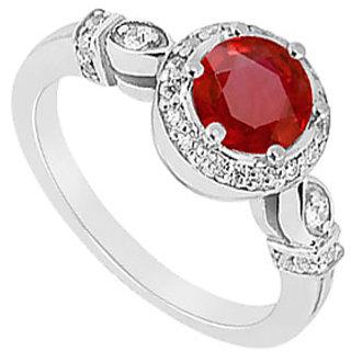 Lovebrightjewelry Ruby & Diamond 14K White Gold Trendy Engagement Ring-0.75 Ct