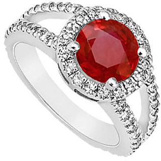 Lovebrightjewelry Ruby & Diamond 14K White Gold Voguish Engagement Ring-1.25 Ct