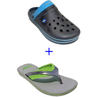 Super Divine Collections - Combo Pack Offer Of Black Crocs + Grey Sleeper