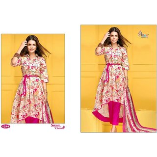 Shree Fab Soya Classic Pink White Floral suit