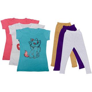 IndiWeaves Girls Cotton T-Shirts With Cotton Leggings (Pack of 3 T-Shirts 3 Leggings)PinkWhiteBlueBeigePurpleWhite30