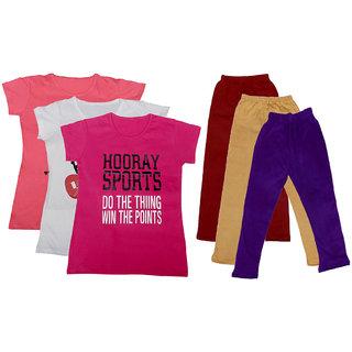 IndiWeaves Girls Cotton T-Shirts With Cotton Leggings (Pack of 3 T-Shirts 3 Leggings)PinkWhitePinkMaroonBeigePurple30