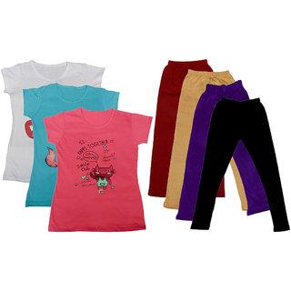 IndiWeaves Girls Cotton Legging With T-Shirt(Pack of 4 Girls Leggings and 3 T-Shirt )WhiteBluePinkMaroonBeigePurpleBlack30