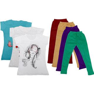 IndiWeaves Girls Cotton Legging With T-Shirt(Pack of 4 Girls Leggings and 3 T-Shirt )BlueGreyWhiteMaroonBeigePurpleGreen30