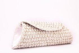 Kleio Ethnic Full Flap Beads Clutch (White) Bnb405Jp-Wh
