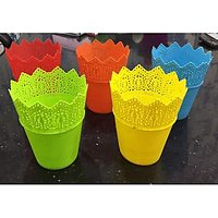 Malhotra Plastic Cosmos Pot 5pcs set