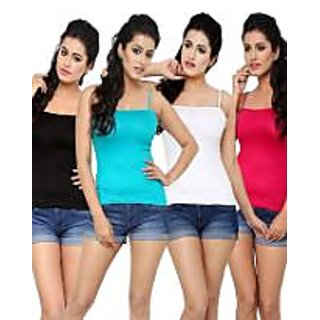 Multicolor Cotton Lycra Solid Camisoles (Pack of 4)