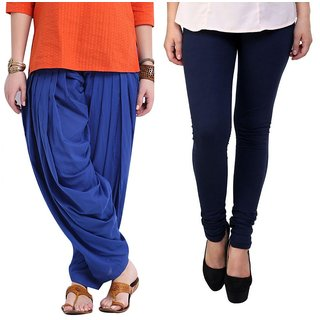 Legemat Blue Patiala Salwar NavyBlue Legging Pack Of 2