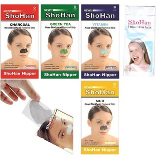 ShoHan 5Min COOL Facial and ShoHan BlackHead remover Nose Strips (Assorted Pack)(4Pcs Mud Strips, 4Pcs Green Tea Strips, 4Pcs Vitamin Strips, 4Pcs Charcoal Strips, 4Pcs Nose-on Strips)