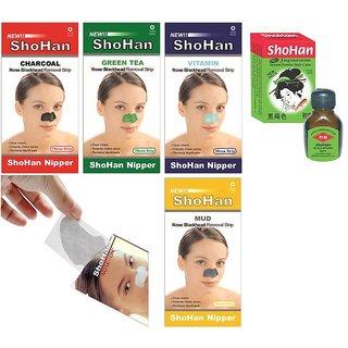 ShoHan Japane Powder hair Color - Black Brown  ShoHan BlackHead remover Nose Strips (Assorted Pack)(4Pcs Mud Strips, 4Pcs Green Tea Strips, 4Pcs Vitamin Strips, 4Pcs Charcoal Strips, 8Pcs Nose-on Strips)