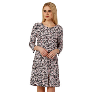 Oxolloxo Multicolor Viscose Round Neck Printed A-Line Dress