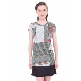 Oxolloxo Multicolor Polyester Round Neck Printed A-Line Dress