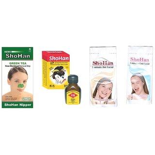 ShoHan Japane Powder hair Color - Black S  ShoHan BlackHead remover Nose Strips (Assorted Pack)(12Pcs Green Tea Strips) (12Pcs COOL Facial 12Pcs HOT Facial)
