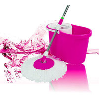 IKITZ 360 Rotating Spin Pink Cleaning Mop With Steel Rod (color as per availability)