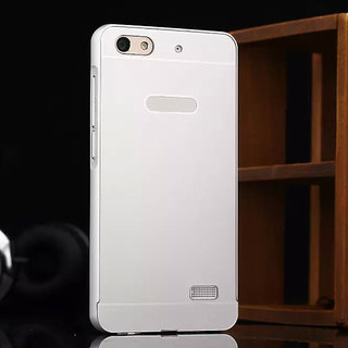 Huawei Honor 4C Case Cover, Luxury Metal Bumper +  Acrylic Mirror Back Cover Case For Huawei Honor 4C - Silver