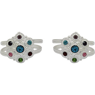Raj Multicolor Silver Plated Cz Colour Spark Jaipuri Work Zircon Toe Ring