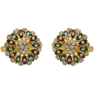 Raj Jewels Golden Plated Cz Colour Spark Toe Ring