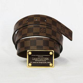 Luxury Belt GOLDEN SQUARE BUCKLE CHECK BELT