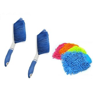2Carpet Brush Microfibre Wet and Dry Brush with 4 Microfibre Gloves
