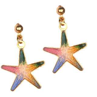Jazz Jewellery Multicolour Real Meenakari Work Copper Drop Earrings For Women