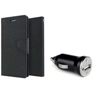 Lenovo A7000 WALLET FLIP CASE COVER (BLACK) With CAR ADAPTER