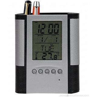 Tuelip Grey  Black Digital Clock Date Temperature Alarm with Pen Pencil Holder