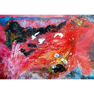 Vitalwalls - Abstract Painting  - Art Print on Imported White Polypapier, Gallary Wrapped on PVC Frame