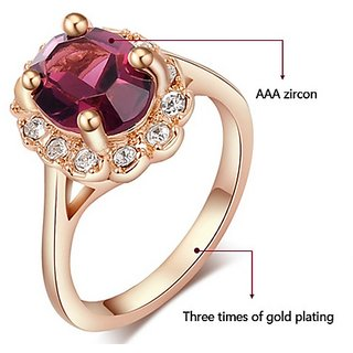 Crystal Rings For Women 18K Gold Plated Size 6, 7, 8, 9 - Purple