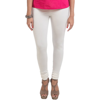 Navrachna White Cotton Solid/Plain Legging