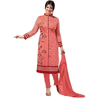 Khushali Presnts Embroidered Chanderi Dress Material(Dark Peach)