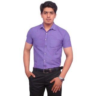 2dc74d53f3f Buy Rosewear Men S Purple Half Sleeve Formal Shirt Online   ₹499 ...
