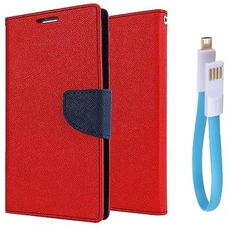 Sony Xperia M2 WALLET FLIP CASE COVER (RED) With Magnet Micro USB Cable