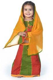 Ethnic Design Red Green Girls Lehenga Kurti Dress 105D-12