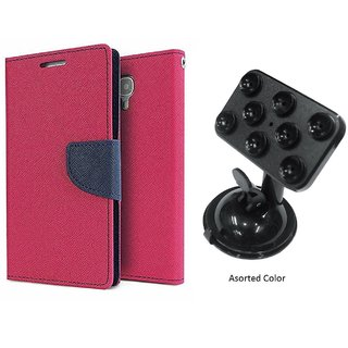 Lenovo A7000 WALLET FLIP CASE COVER (PINK) With Mobile Holder Car Mount Suction Cup