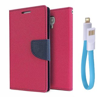 Micromax Canvas Play Q355 WALLET FLIP CASE COVER (PINK) With Magnet Micro USB Cable