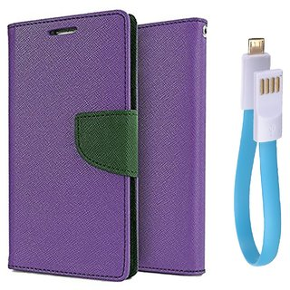 Sony Xperia C5 WALLET FLIP CASE COVER (PURPLE) With Magnet Micro USB Cable