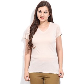 Try Out Solid Women's V-neck White T-Shirt