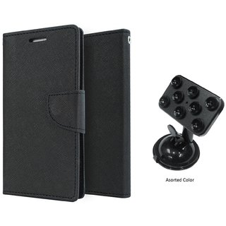 Micromax Canvas Nitro 2 E311 WALLET FLIP CASE COVER (BLACK) With Mobile Holder Car Mount Suction Cup
