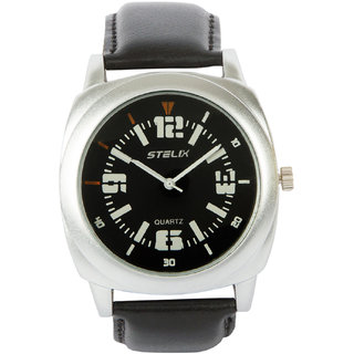 STELIX Black Leather Analog Watch For Men