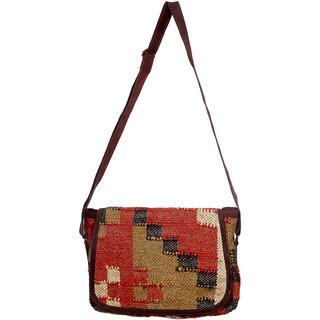 IndiWeaves Vintage Handmade Ethnic Kilim and Leather Cross Body Sling Bag