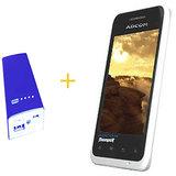 ADCOM A350 Android Mobile Phone (White) + ADCOM 5400mAh Power Bank - Blue